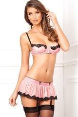 3 Pc. Pink Hookin' Up Bra, Skirt & G-String Set in S/M