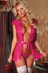 Floral Lace Warp Robe & G-String in L/XL