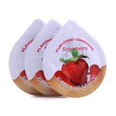Endurance 3 Pack of Flavored Condoms in Strawberry