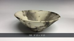 Hand-thrown horse hair fired v bowl