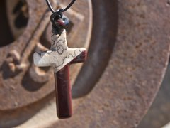 Horse Hair Cross Necklace with Red and Blue Glass Bead
