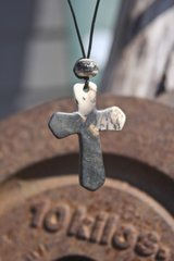 Horse Hair Cross with Silver Inlay Bead