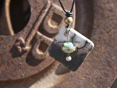 Horse Hair Diamond Pendant with Sea Foam Green and Teal Bead with Silver Inlay