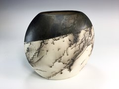 Horse Hair Fired Diagonal Glazed Medium Pillow Vase