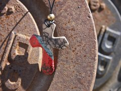 Horse Hair Red and Turquoise Cross Pendant