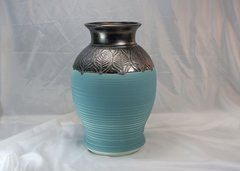 Custom Large Teal and Bronze Horse Hair Vase