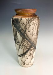 Rust and horse hair fired vase