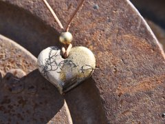 Horse Hair Heart with Amber Glaze and Brass Bead