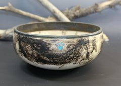 Horse Hair Paw Print Bowl with Turquoise Inlay