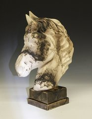 Equistrian Horse Bust with Square Base