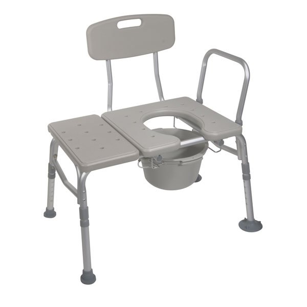 Combination Plastic Transfer Bench with Commode Opening - 12011kdc-1