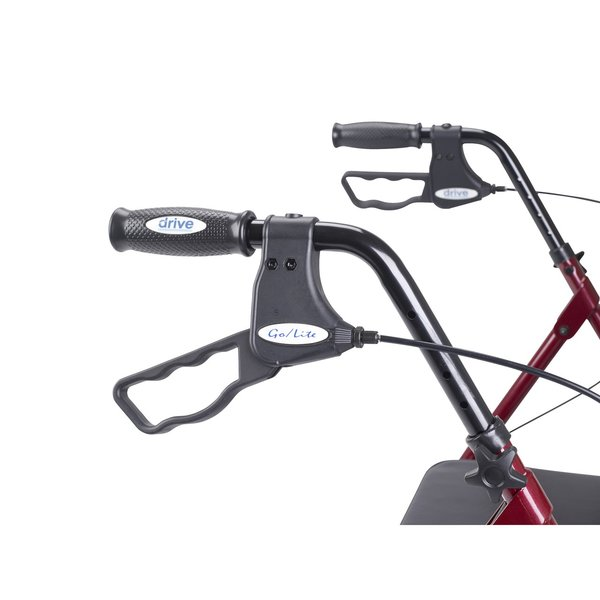 Heavy Duty Bariatric Red Rollator Walker with Large Padded Seat - 10215rd-1