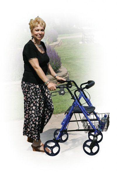 "DLite Midnight Black Rollator Walker with 8"" Wheels and Loop Brakes - 750nbk"