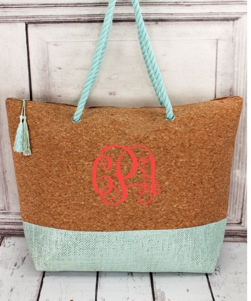 Cork and Metallic Mint Tassel Beach Tote With Rope Handles | House ...