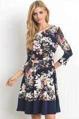 Navy Floral 3/4 Sleeve Dress (D307)