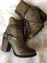 Loden Lace-up Bootie with Inside Zipper (F53)