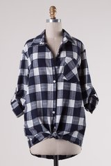 Navy/Off White Plaid Top (T904)