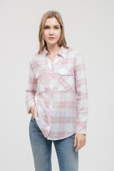 Blue Plaid/Pink Plaid Button Down Rayon Top (T949)