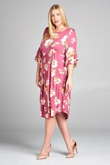Dusty Rose Floral Babydoll Dress with Bell Sleeves (SDB165)