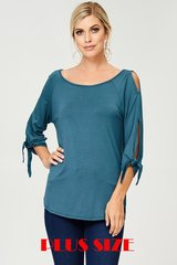 Teal Plus Size Cutout 3/4 Tie Sleeve Top (SDB16)