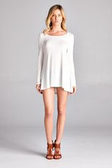 Ivory Lace Long Sleeve w/Lace Back Panel Jersey Top (T940)