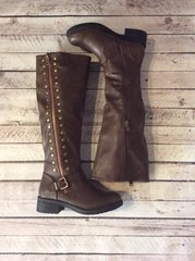 Brown Tall Boots with Side Buttons and Zipper (F63)