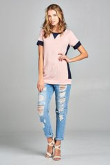 Pink/Navy Short Sleeve Color Block Top (T954)