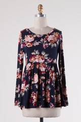 Navy Floral Tunic with Back Tie (T909)