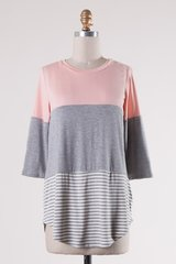Dusty Pink/Charcoal Grey Striped Top w/Back Lace (T945)