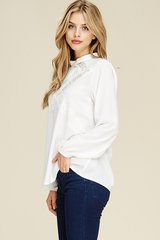 Off White Lace Inset Keyhole Back Long Sleeve Top (T958)