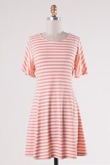 Coral Striped Short Sleeve Back Lace-up Waist Dress (D314)