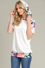 Ivory Short Sleeve Top w/Floral Accent (T953)