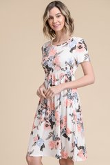 Ivory Floral Knee Length Baby Doll Dress with Pockets (D323)