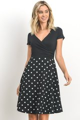 Black Dress w/Ivory Polka Dot (D308)
