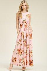 Blush Floral Sleeveless Maxi Dress (SDB2)