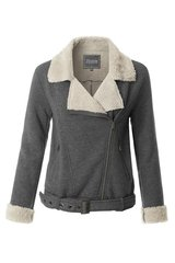 Grey Fleece Moto Jacket (J35)