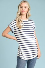 Blue Modal Striped Top with Floral Woven Back (T962)