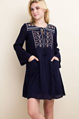 Navy Tie Neck Embroidered Tunic (T826)