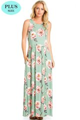 Sage Floral Sleeveless Plus Size Maxi Dress (SDB45)
