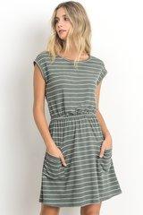 Olive/Purple Striped Dress W/Pockets (D305)