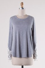 Heather Grey/Olive Top with Lace Sleeve (T925)