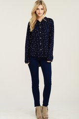 Navy Rayon Tunic with White Star Detail (T926)