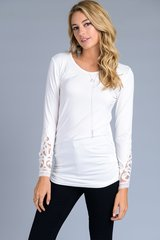Charcoal Grey/Ivory/Navy Blue Long Sleeve w/Lace Top w/Side Ruching (T932)