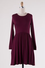 Burgundy/Charcoal Grey Long Sleeve Lattice Back Dress with Pockets (D312)