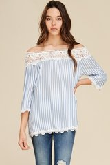 Ivory/Blue Off Shoulder Bell Sleeve w/Lace Detail Top (T955)