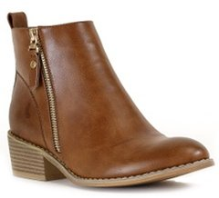 Tan Low Heel Bootie W/Outer Zipper (F62)
