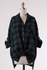 Green/Off White Plaid Oversized Tunic (T910)