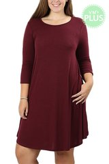 Burgundy/Charcoal Grey 3/4 Sleeve Dress with Pockets