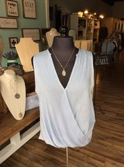 Light Blue/Lilac Pin Striped Crossover Top (T963)