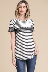 Black/Ivory Striped Short Sleeve Poly Rayon Top w/Lace Detail (T952)
